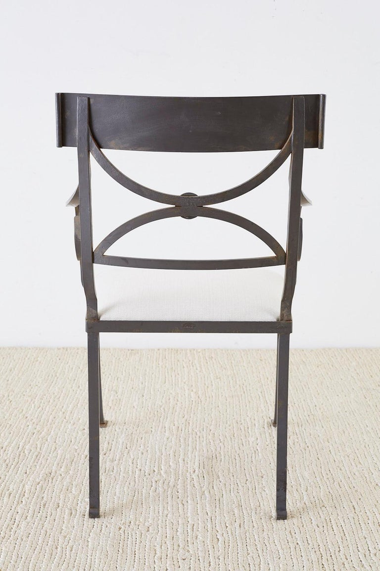 Set of Four Regency Style Iron Garden Patio Chairs For Sale 11