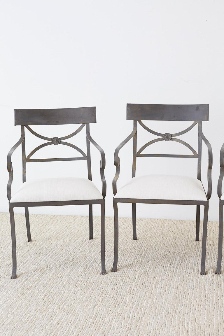 American Set of Four Regency Style Iron Garden Patio Chairs For Sale