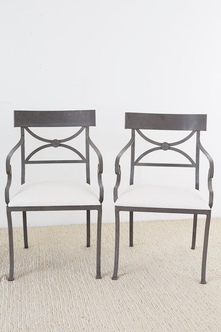 Hand-Crafted Set of Four Regency Style Iron Garden Patio Chairs For Sale