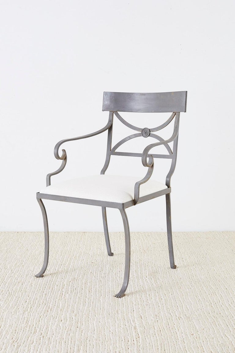 20th Century Set of Four Regency Style Iron Garden Patio Chairs For Sale