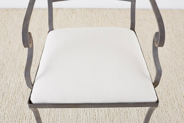 Fabric Set of Four Regency Style Iron Garden Patio Chairs For Sale