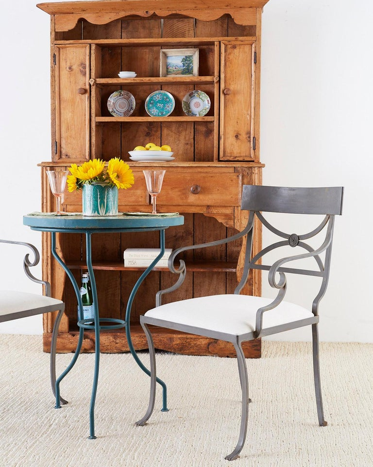 Set of Four Regency Style Iron Garden Patio Chairs For Sale 2