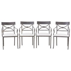 Set of Four Regency Style Iron Garden Patio Chairs