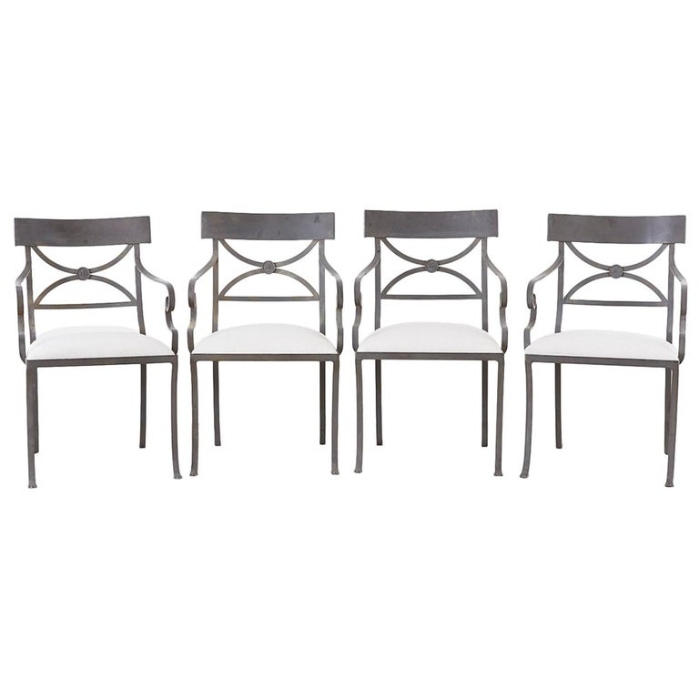 Set of Four Regency Style Iron Garden Patio Chairs For Sale