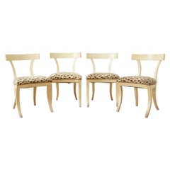 Set of Four Regency Style Lacquered Klismos Chairs