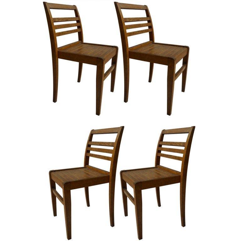 Set of Four Rene Gabriel Oak Chairs For Sale