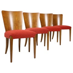 Set of Four Restored Dining Chairs Model H-214 Designed by Jindrich Halabala