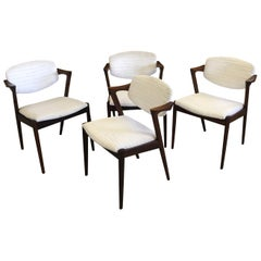 Set of Four Restored Kai Kristiansen Rosewood Dining Chairs Inc. Reupholstery