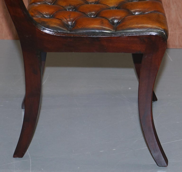Set of Four Restored Vintage Chesterfield Hardwood Brown Leather Dining Chairs For Sale 3