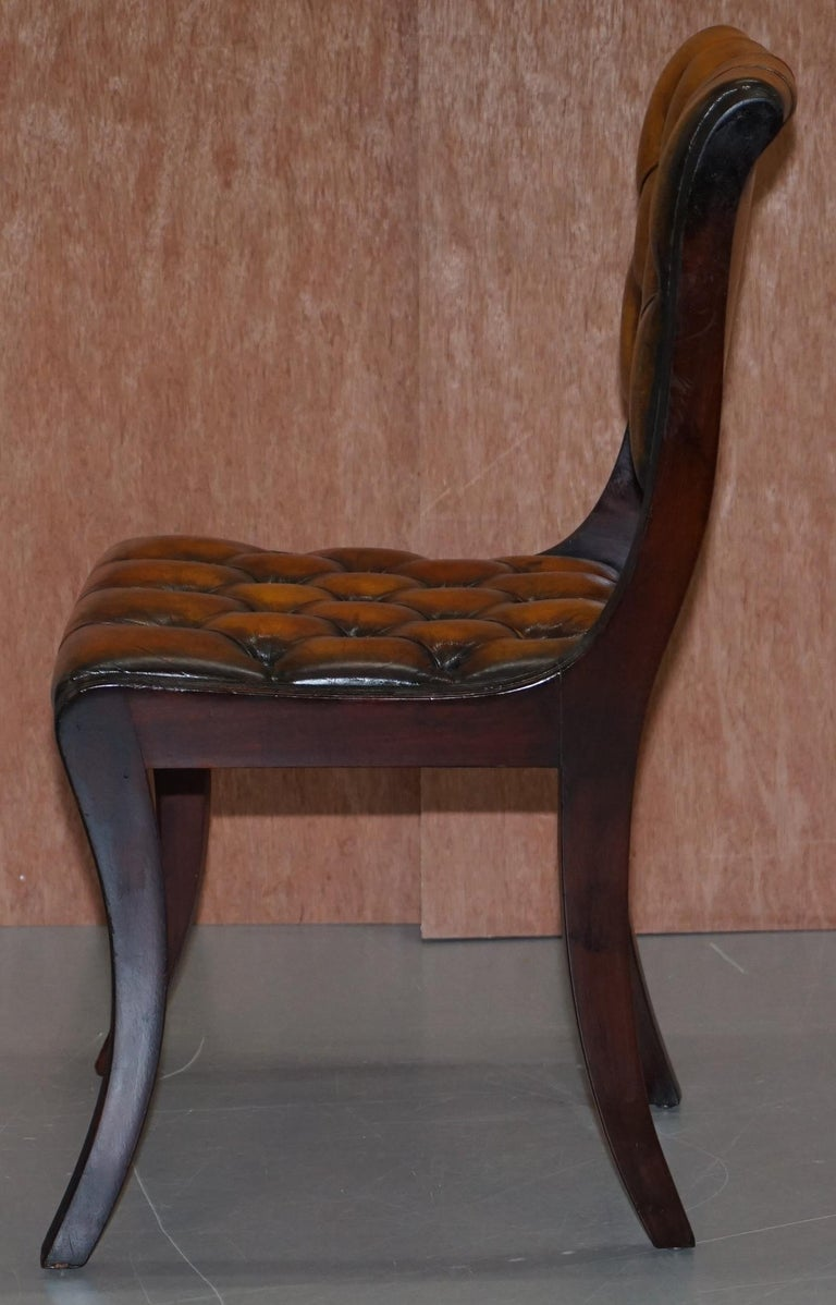 Set of Four Restored Vintage Chesterfield Hardwood Brown Leather Dining Chairs For Sale 7