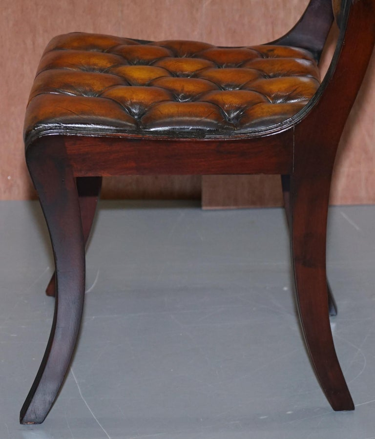 Set of Four Restored Vintage Chesterfield Hardwood Brown Leather Dining Chairs For Sale 8