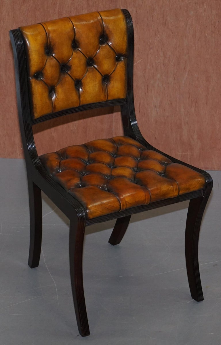 We are delighted to offer for sale this stunning set of four Vintage fully restored Chesterfield aged cigar brown leather dining chairs  I have another suite of eight of these which includes two carver armchairs listed under my other items   A