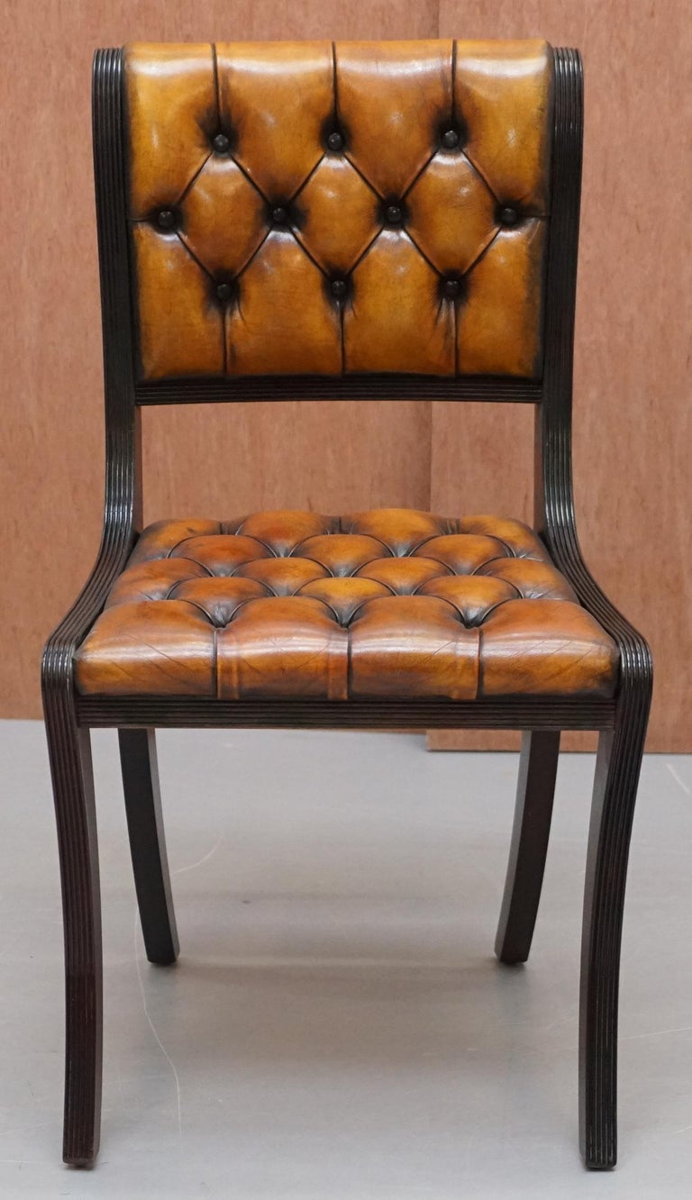Regency Set of Four Restored Vintage Chesterfield Hardwood Brown Leather Dining Chairs For Sale