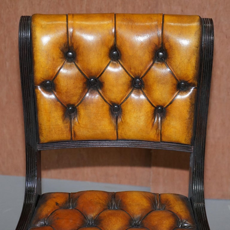 English Set of Four Restored Vintage Chesterfield Hardwood Brown Leather Dining Chairs For Sale
