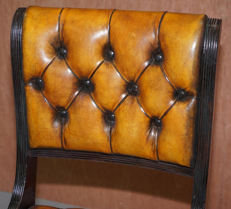Hand-Crafted Set of Four Restored Vintage Chesterfield Hardwood Brown Leather Dining Chairs For Sale