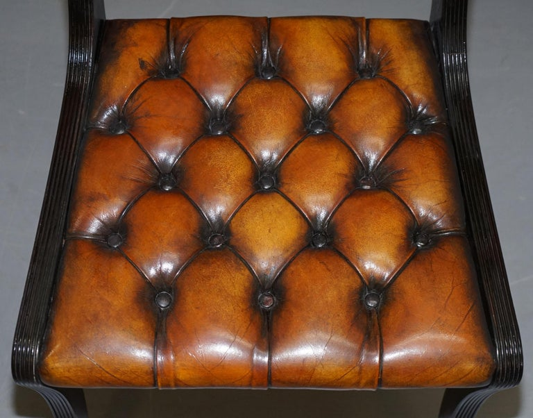 Set of Four Restored Vintage Chesterfield Hardwood Brown Leather Dining Chairs In Good Condition For Sale In , Pulborough