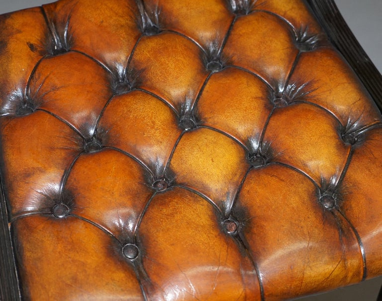 20th Century Set of Four Restored Vintage Chesterfield Hardwood Brown Leather Dining Chairs For Sale