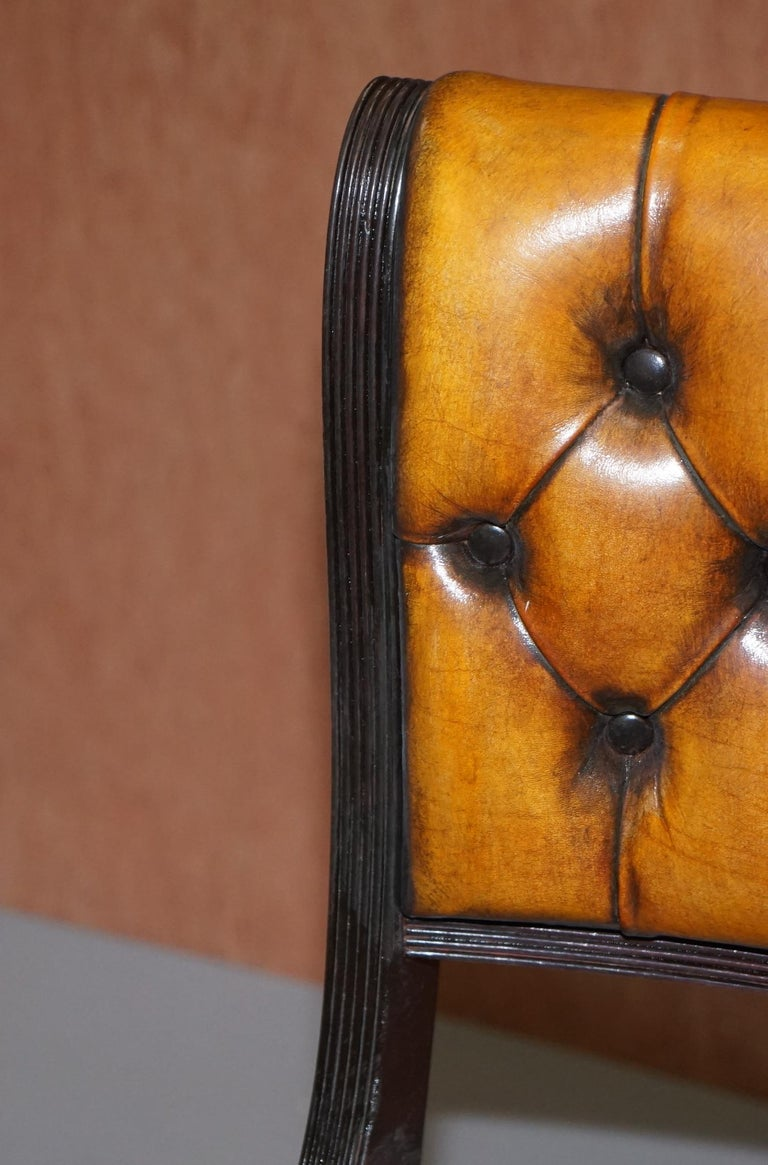 Set of Four Restored Vintage Chesterfield Hardwood Brown Leather Dining Chairs For Sale 1