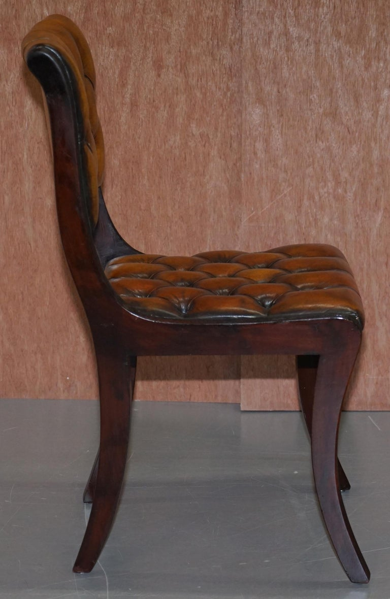 Set of Four Restored Vintage Chesterfield Hardwood Brown Leather Dining Chairs For Sale 2