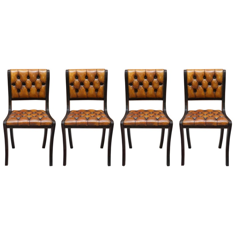Set of Four Restored Vintage Chesterfield Hardwood Brown Leather Dining Chairs For Sale