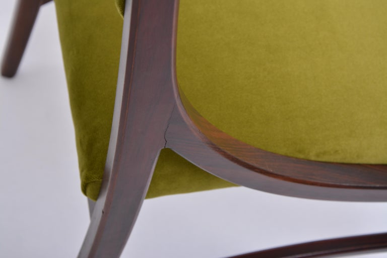 Set of four Mid-Century Modern Green reupholstered Dining Chairs by Ico Parisi  For Sale 6