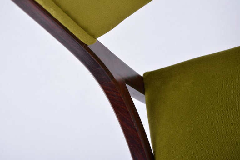 Set of four Mid-Century Modern Green reupholstered Dining Chairs by Ico Parisi  For Sale 11