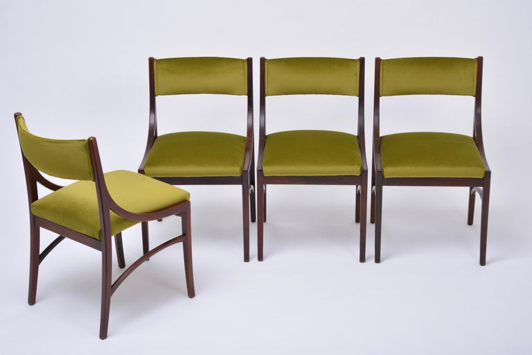Velvet Set of four Mid-Century Modern Green reupholstered Dining Chairs by Ico Parisi  For Sale