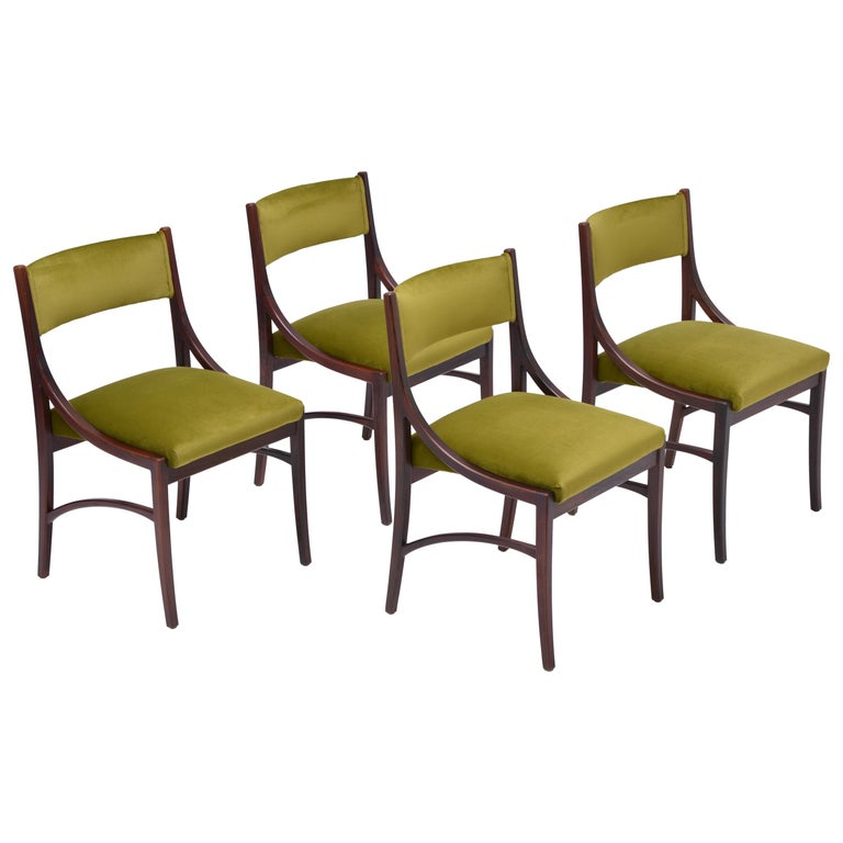 Set of four Mid-Century Modern Green reupholstered Dining Chairs by Ico Parisi  For Sale