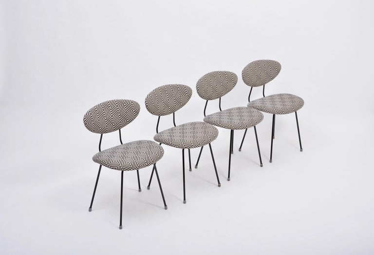 Dutch Set of Four Reupholstered Mid-Century Modern Dining Chairs by Rudolf Wolf For Sale