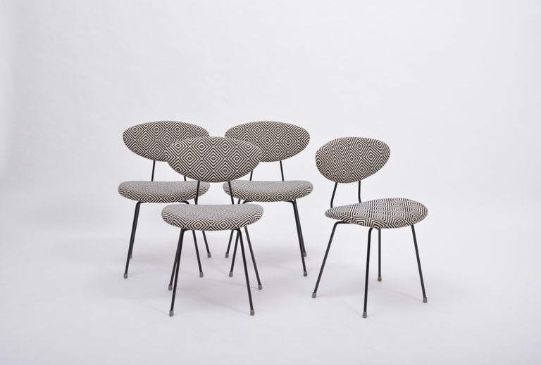 Set of Four Reupholstered Mid-Century Modern Dining Chairs by Rudolf Wolf In Good Condition For Sale In Berlin, DE