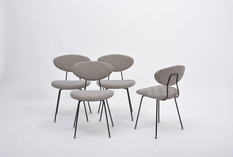 20th Century Set of Four Reupholstered Mid-Century Modern Dining Chairs by Rudolf Wolf For Sale