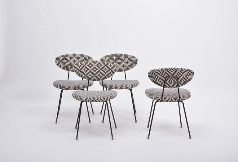 Metal Set of Four Reupholstered Mid-Century Modern Dining Chairs by Rudolf Wolf For Sale