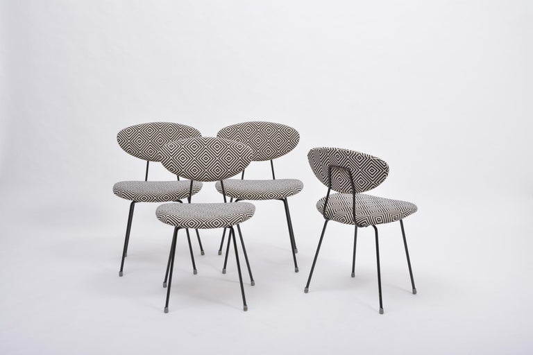 Set of Four Reupholstered Mid-Century Modern Dining Chairs by Rudolf Wolf For Sale 1