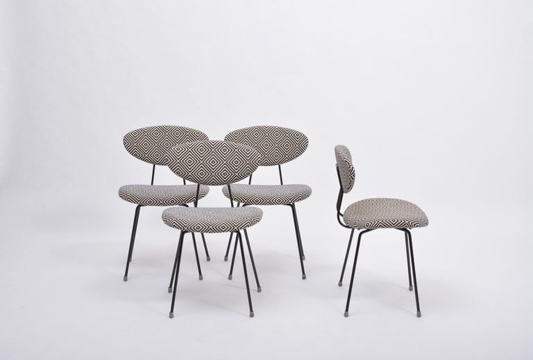 Set of Four Reupholstered Mid-Century Modern Dining Chairs by Rudolf Wolf For Sale 2