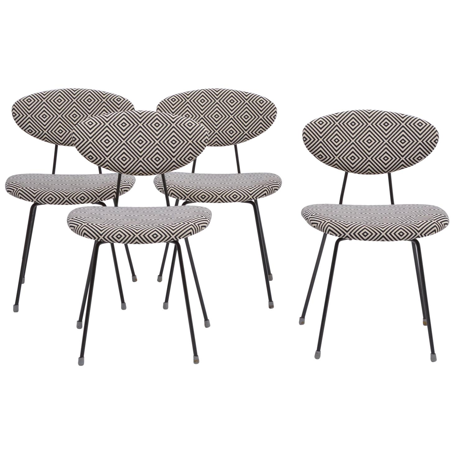 Set of Four Reupholstered Mid-Century Modern Dining Chairs by Rudolf Wolf