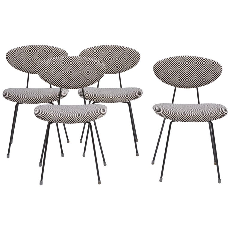 Set of Four Reupholstered Mid-Century Modern Dining Chairs by Rudolf Wolf For Sale