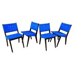 Set of Four Risom for KnollStudio Side Chairs, Ebony with Blue Webbing, 2010s