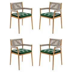 Set of Four Rodolfo Dordoni ''Dine Out' Outside Chairs, Teak, Rope and Fabric