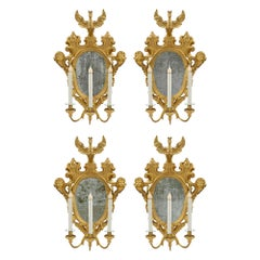 Set of Four Roman 18th Century Giltwood Electrified Mirrored Sconces