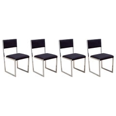 Set of Four Romeo Rega Floating Cantilever Leather Dining Chairs, 1970, Italy
