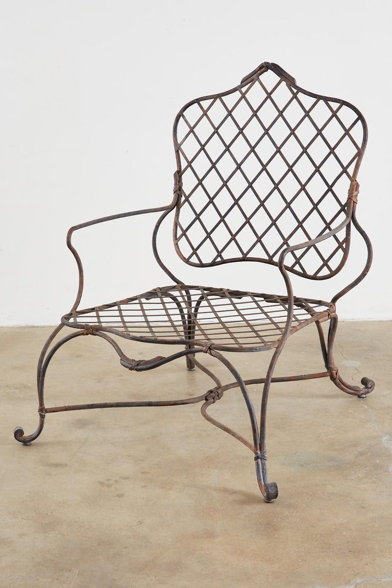 Set of Four Rose Tarlow Twig Iron Garden Lounge Chairs For Sale 3
