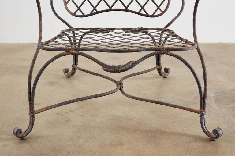 Set of Four Rose Tarlow Twig Iron Garden Lounge Chairs For Sale 4