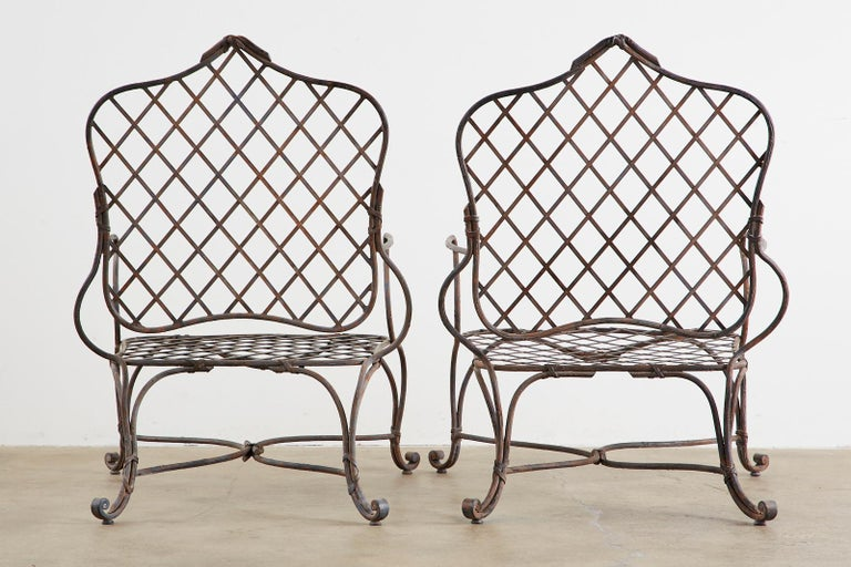 Set of Four Rose Tarlow Twig Iron Garden Lounge Chairs For Sale 12