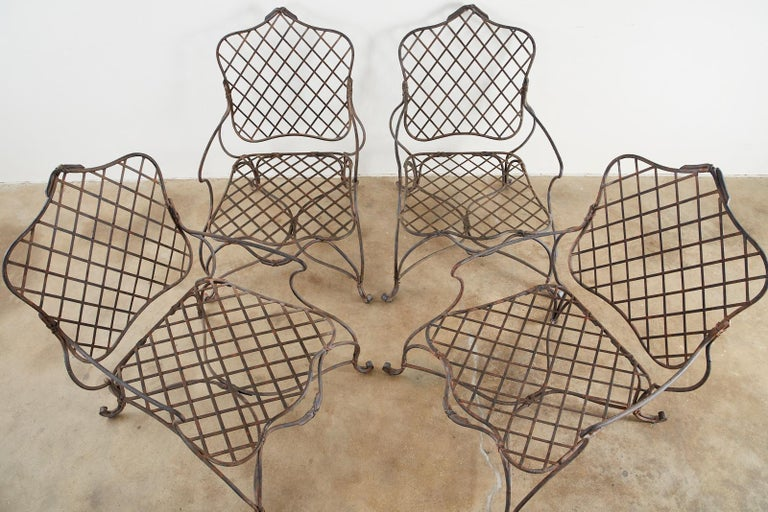 Neoclassical Set of Four Rose Tarlow Twig Iron Garden Lounge Chairs For Sale