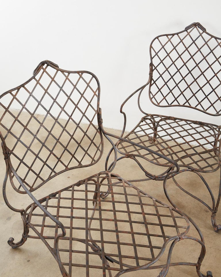 American Set of Four Rose Tarlow Twig Iron Garden Lounge Chairs For Sale