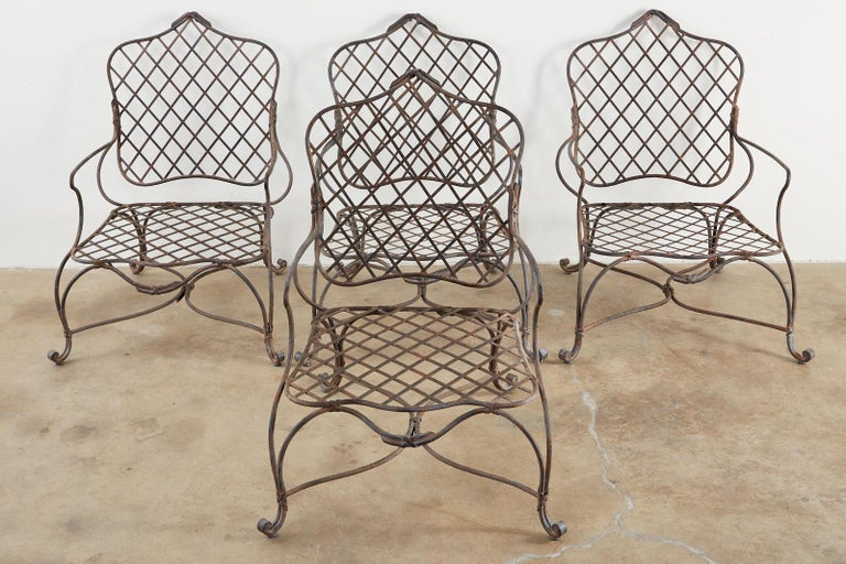 Hand-Crafted Set of Four Rose Tarlow Twig Iron Garden Lounge Chairs For Sale
