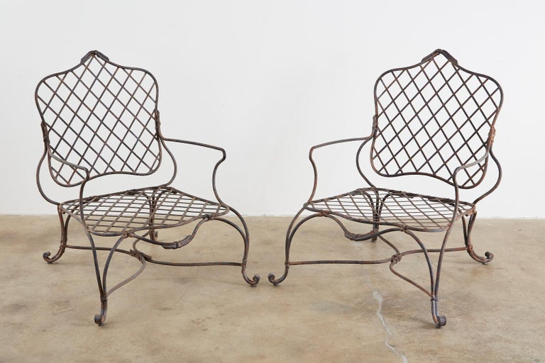 Set of Four Rose Tarlow Twig Iron Garden Lounge Chairs In Distressed Condition For Sale In Rio Vista, CA