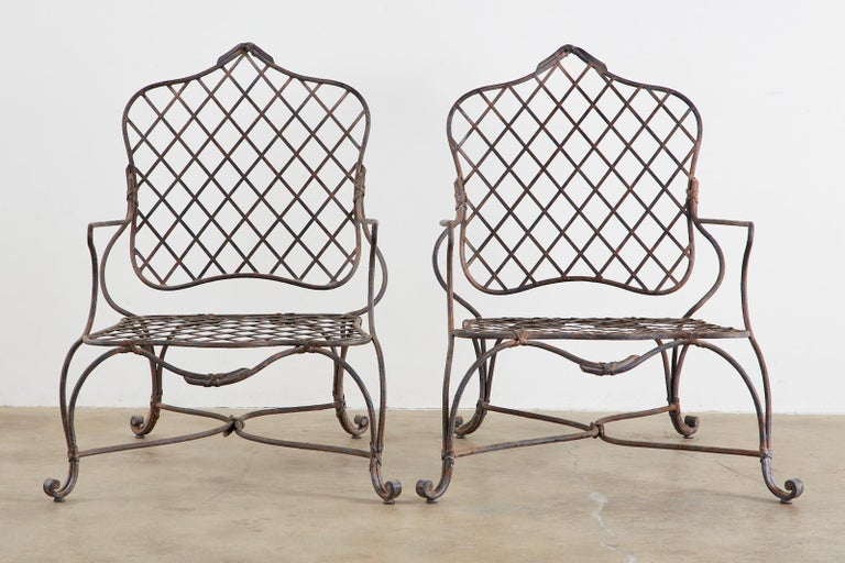 20th Century Set of Four Rose Tarlow Twig Iron Garden Lounge Chairs For Sale