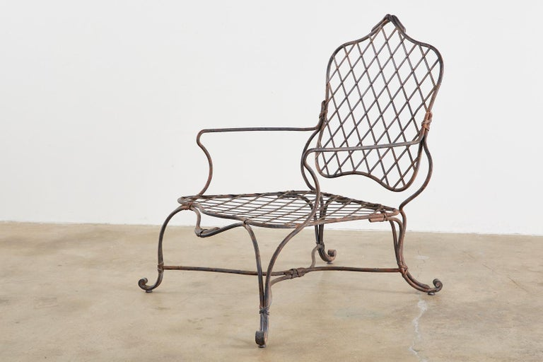 Set of Four Rose Tarlow Twig Iron Garden Lounge Chairs For Sale 1