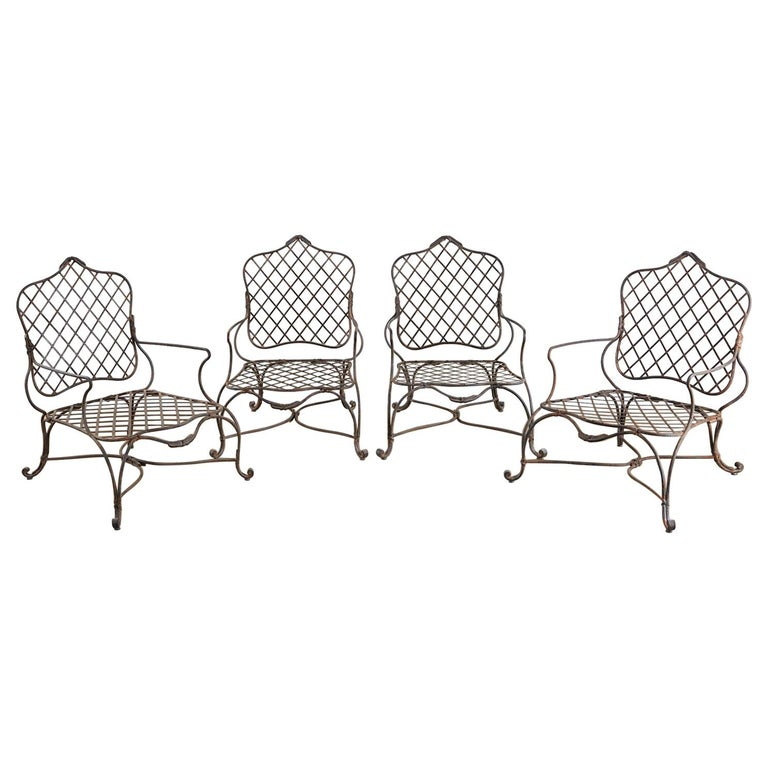 Set of Four Rose Tarlow Twig Iron Garden Lounge Chairs For Sale